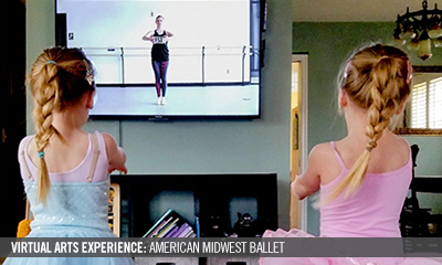 Two young girls learning ballet virtually