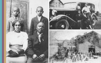 Left, portrait of the Brown family. Buxton, Iowa (ca.1910); Top Right, Rivera and Ayala family (ca. 1930); Bottom Right, Cities Calmar New RR station with lots of activity (ca. 1870)