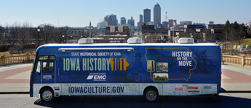 Des Moines skyline with Mobile Museum Winnebago in front