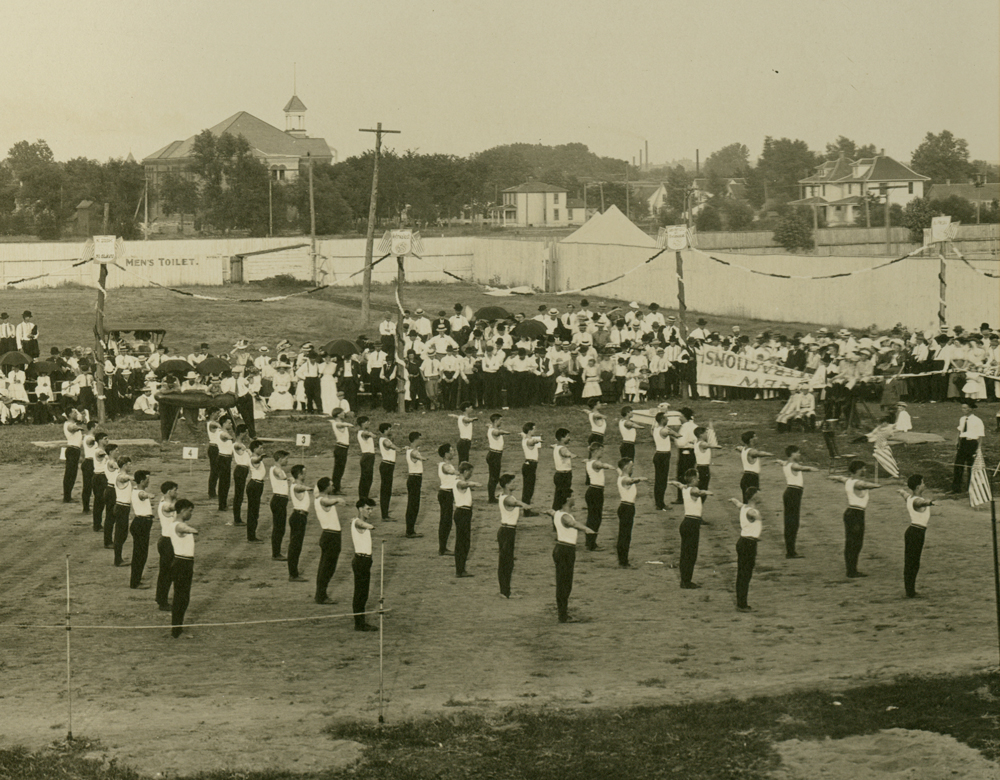 Drill team performing during Sokol festival and tournament at Alamo Park in Cedar Rapids, Iowa. Sokols were gymnastics and drilling clubs that originated in Czechoslovakia.