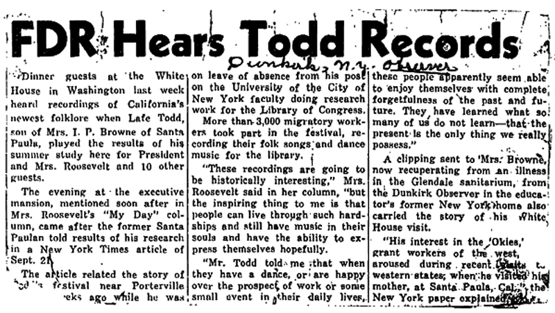 """""""FDR Hears Todd Records"""" Newspaper Article"""