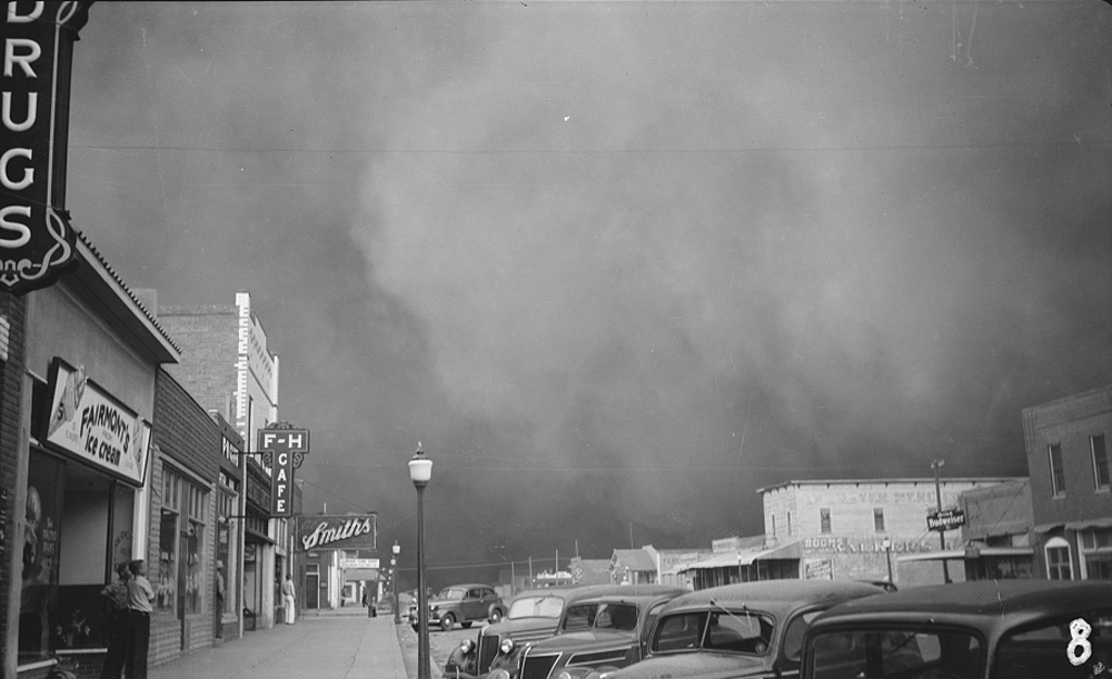 A dust storm in Elkhart, Kansas.