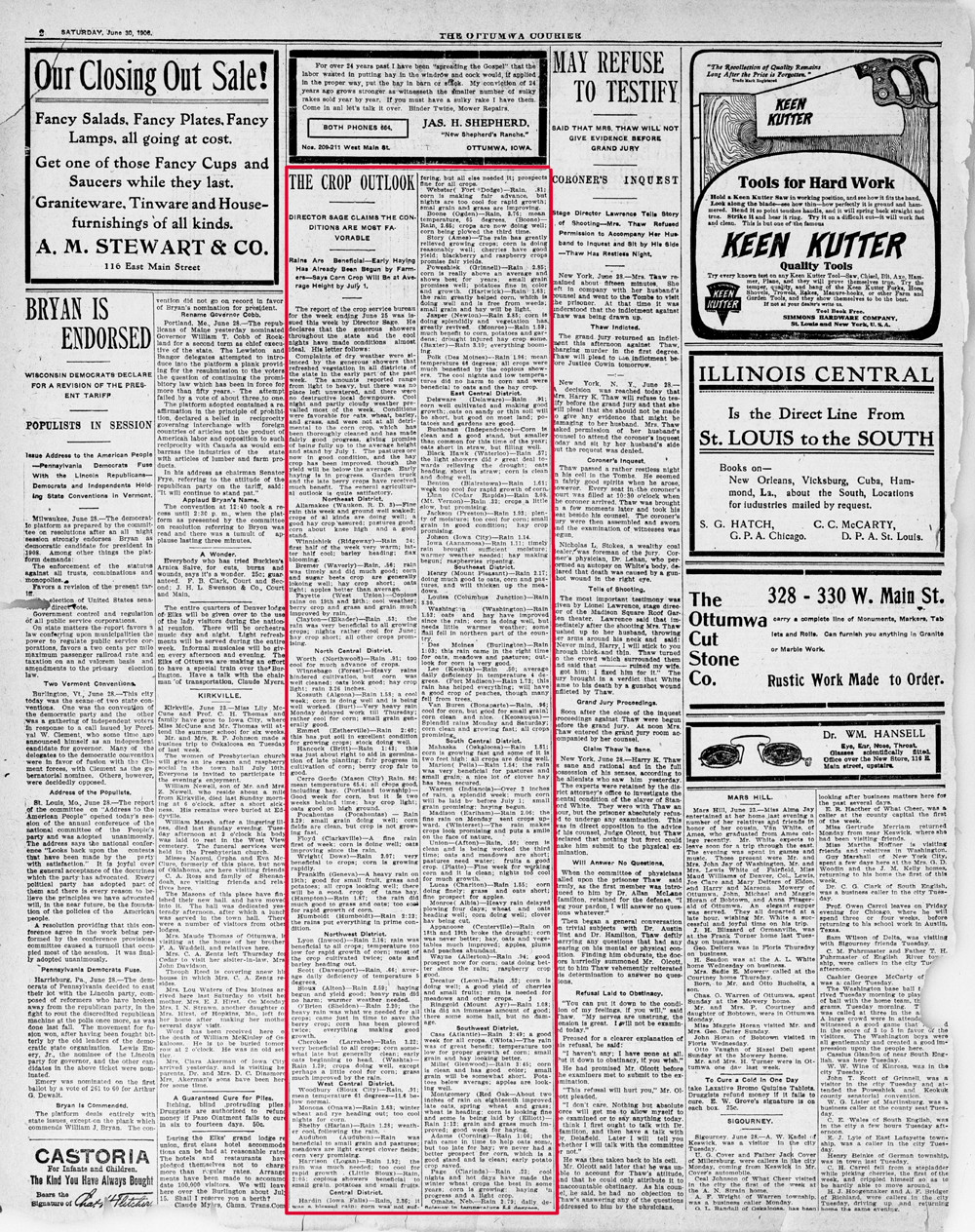 An article about a report filed by Iowa's Director of Agriculture J.R. Sage.