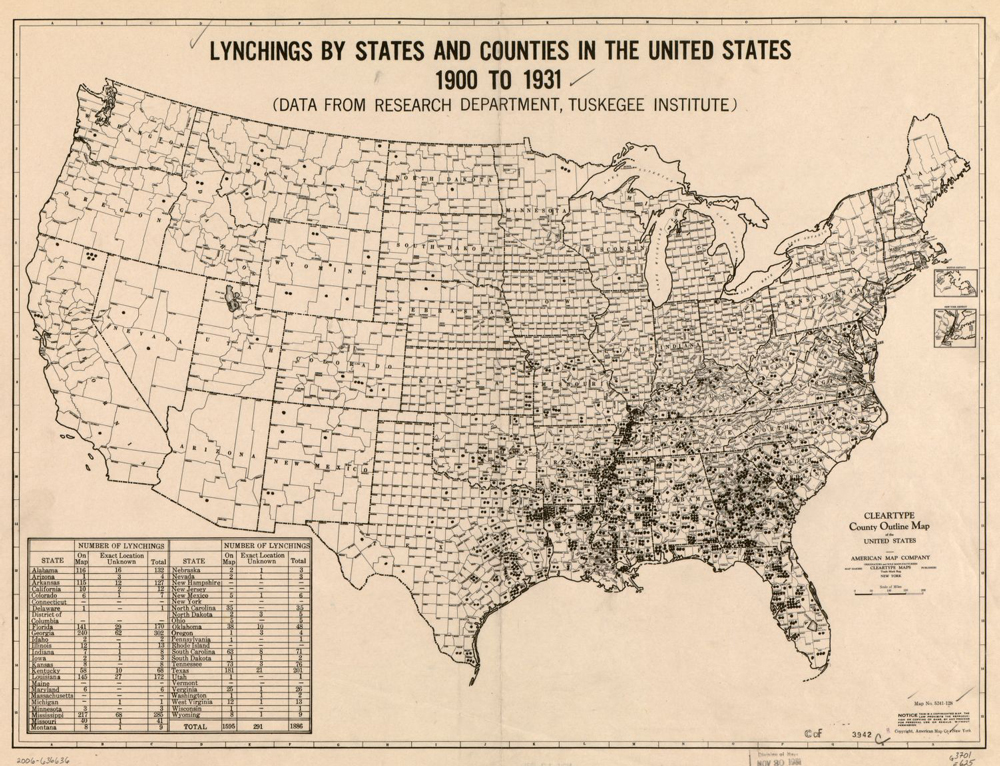 Lynchings by States and Counties in the United States, 1900 ...