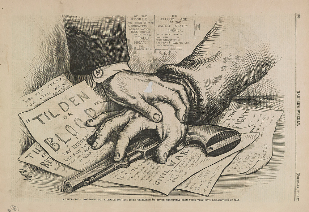 In its February 17, 1877 edition, Harper's Weekly published an illustration by Thomas Nast that depicted the hand of a Republican holding down the hand of a Democrat reaching for a pistol atop a stack of papers that warned of civil war if Tilden were not to become President. While many in the country feared another civil war, Nast hoped that the commission would allow Congress to settle the impasse without violence.