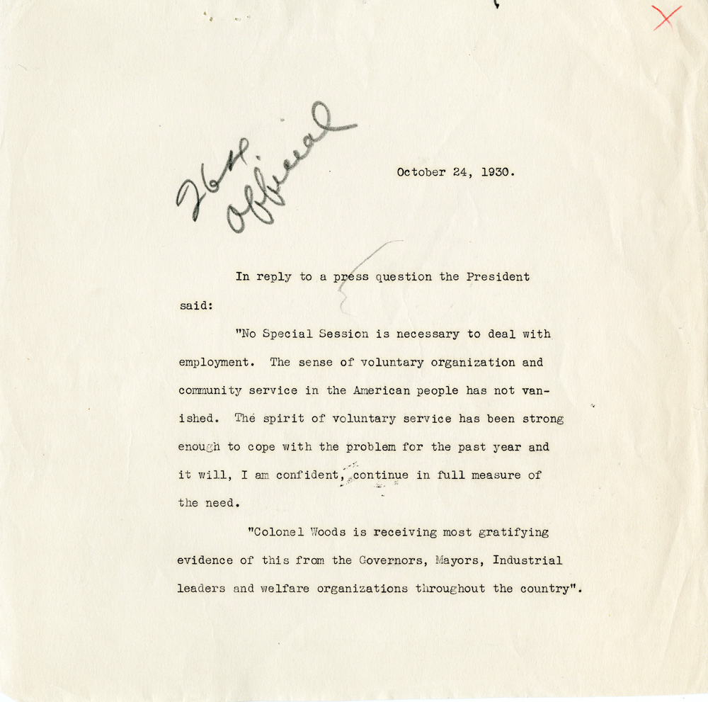 Hoover's response to the press over a question about a special session of Congress.