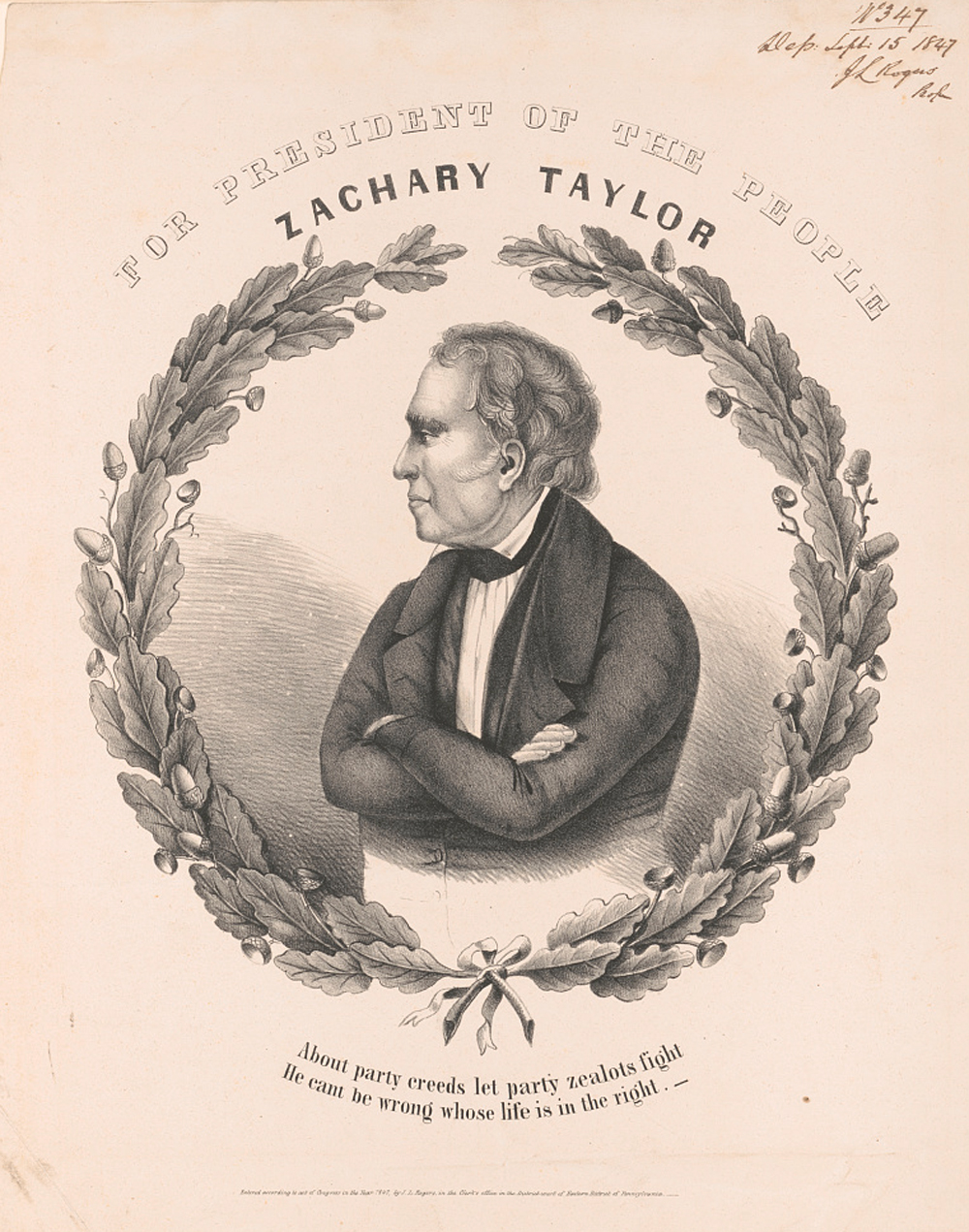 A print of a campaign banner for Whig presidential candidate Zachary Taylor