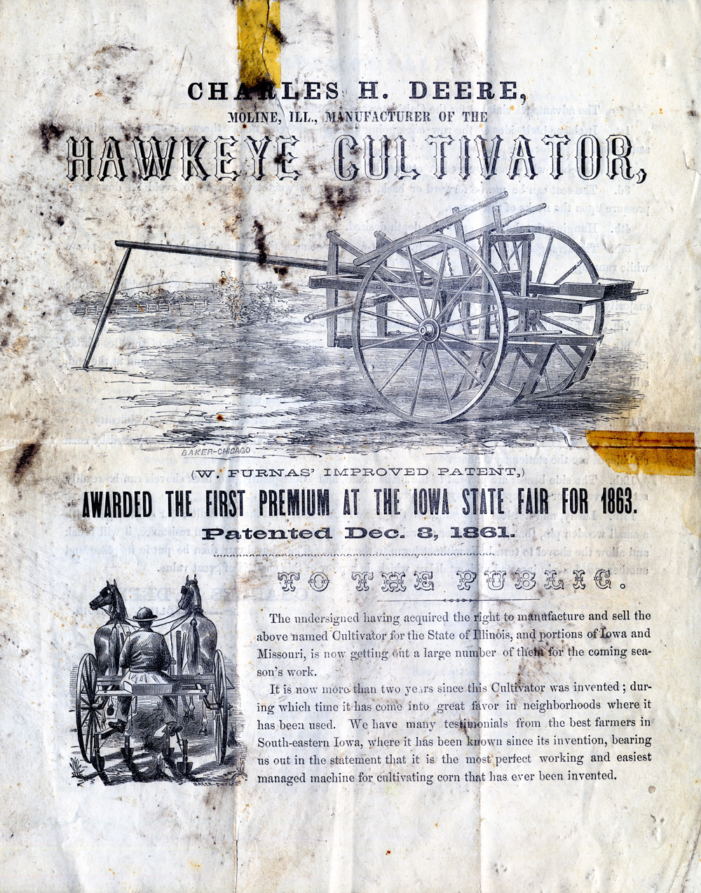 Two hand drawings and text telling about John Deere's riding implement, the Hawkeye Cultivator.