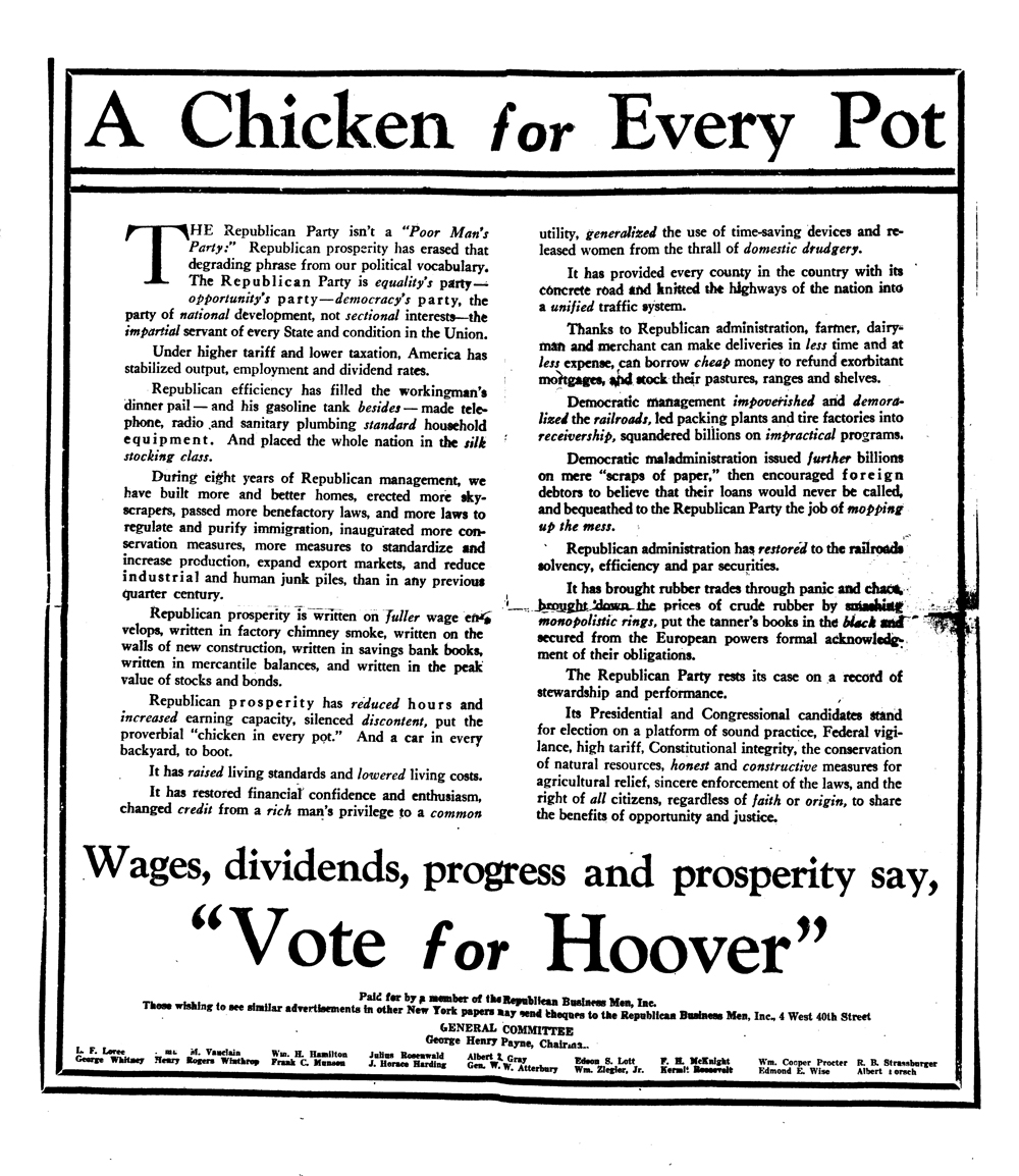 "Political Ad for Herbert Hoover called ""A Chicken for Every Pot"""