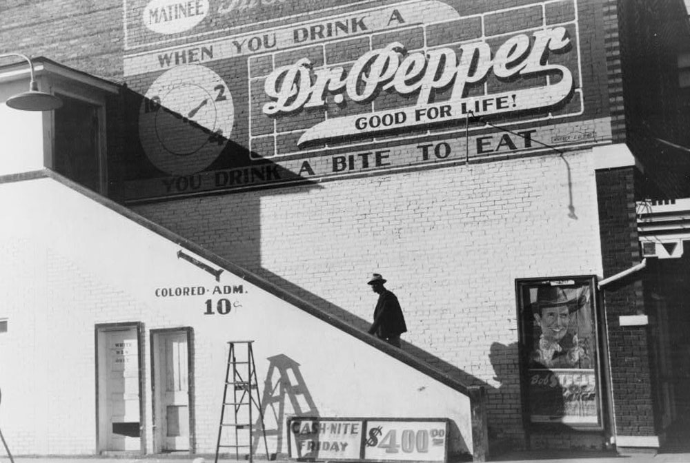 """African-American Man Entering Movie House Through """"Colored"""" Entrance, October 1939"""
