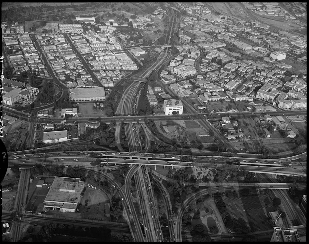 Aerial View of Four Level Interchange in Los Angeles, California