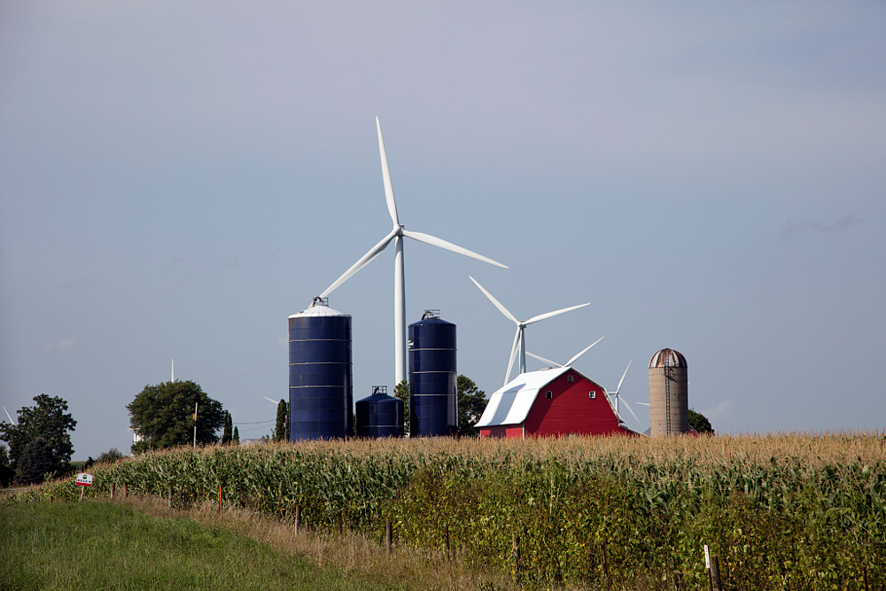 Wind turbines on a farm in Iowa.