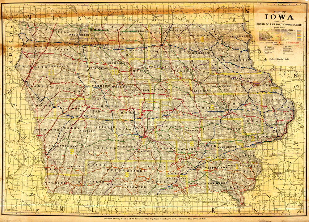 The transportation map features the more than 26 railroads in Iowa in 1915.