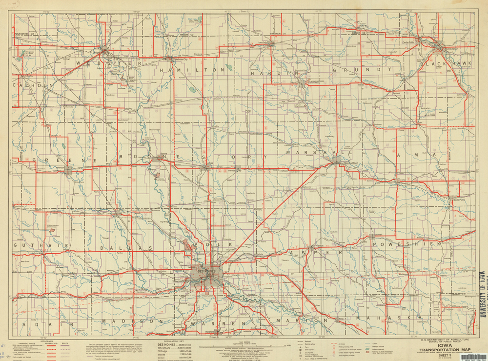 Iowa Transportation Map 1938 IDCA