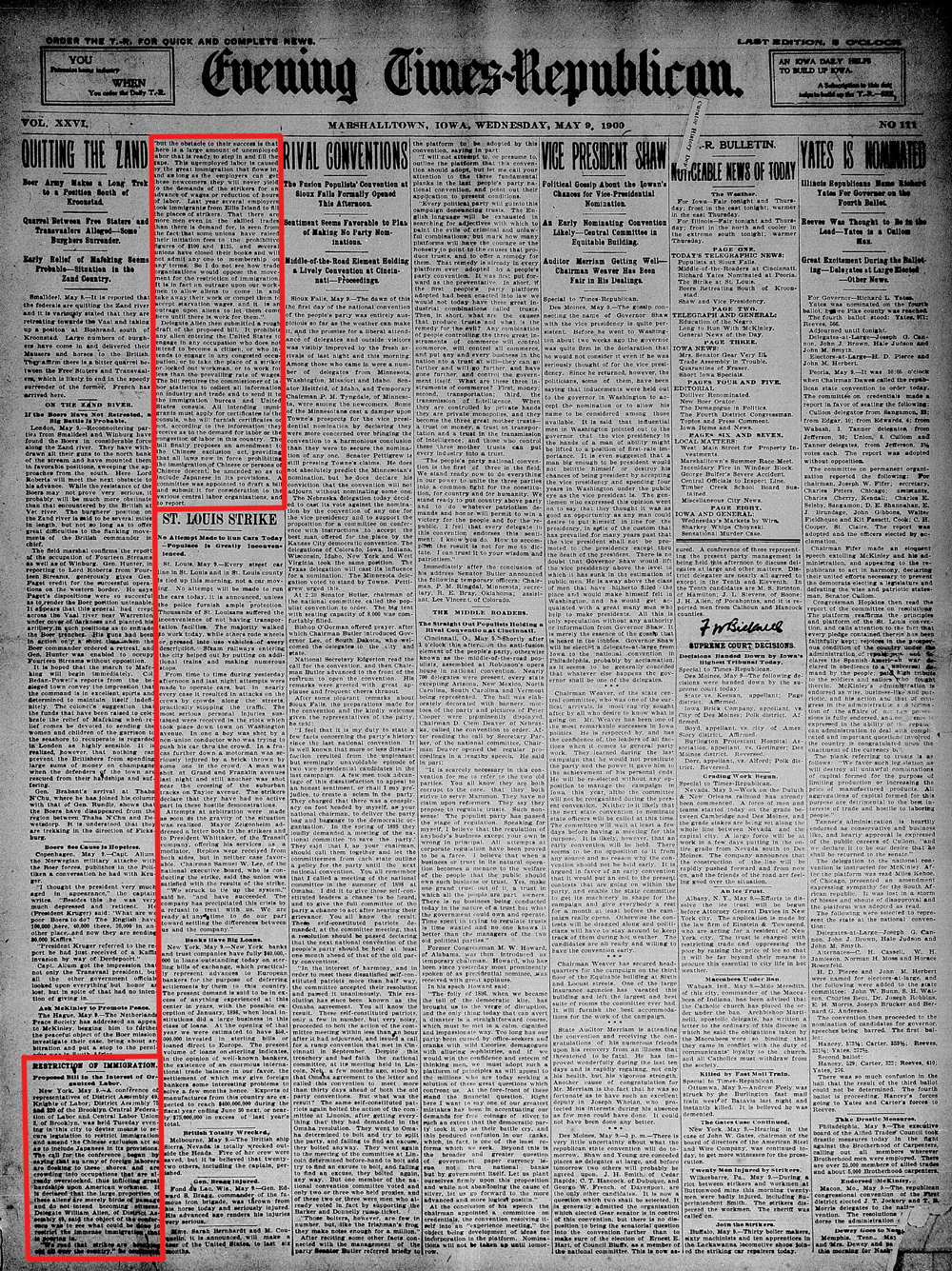 Newspaper article that appeared in the Marshalltown Times Republican in 1900.