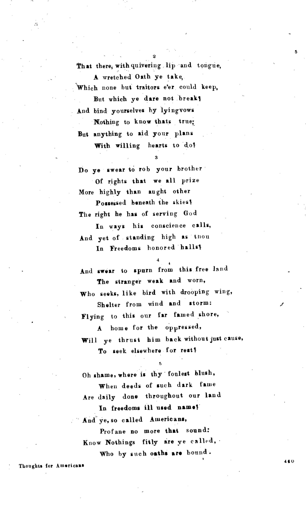 Thoughts For Americans Lyric Sheet 1856