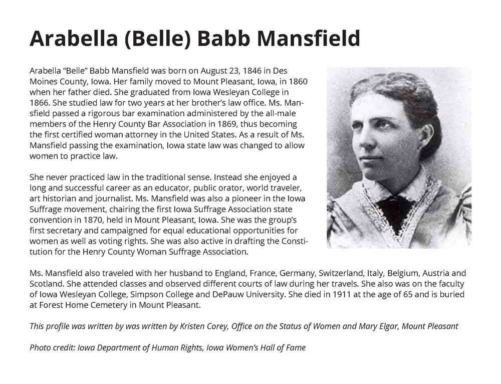 Arabella (Belle) Babb Mansfield, First Certified Female Attorney in the United States