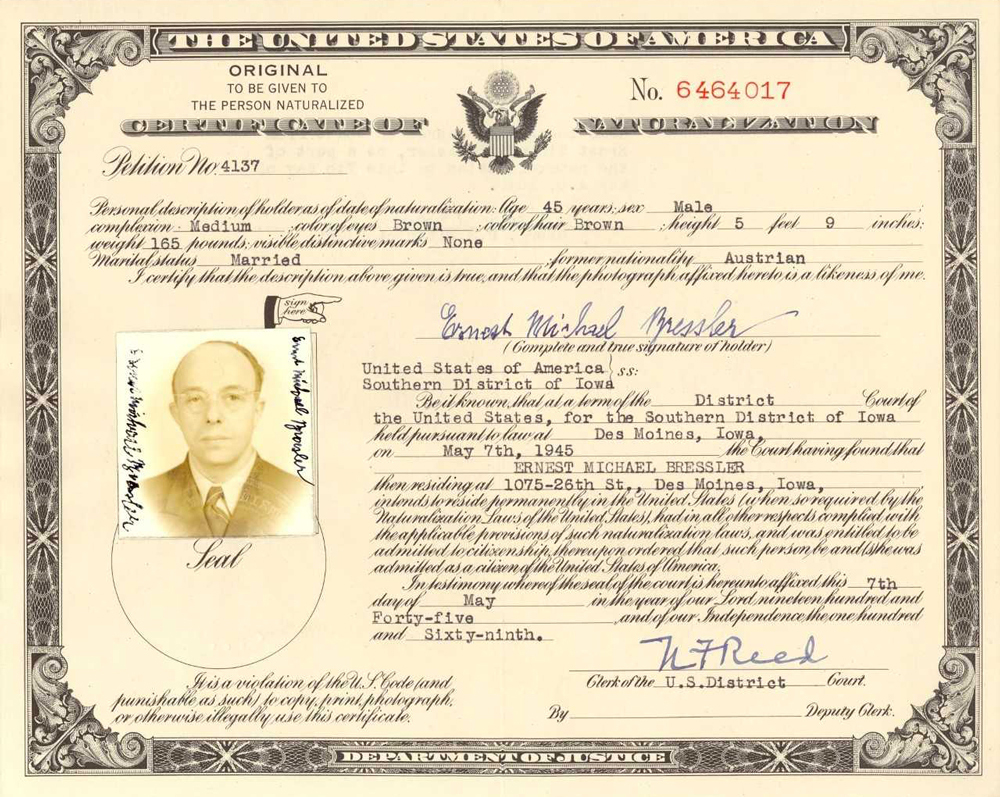 Ernest Michael Bresslers Certificate Of Naturalization May 7 1945