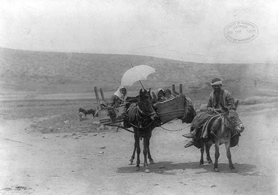 Family Traveling with Donkey and Horse near Sea of Galillee in Palestine, 1895