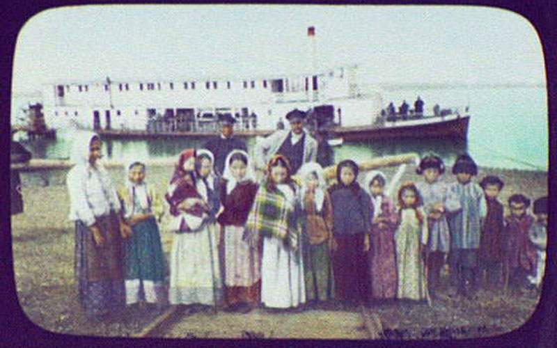 Russian Children in Front of a Steamer in the Ussuri River, October 12, 1895