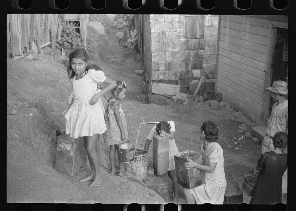 Children Waiting in Line for Water in Yauco, Puerto Rico, January 1942