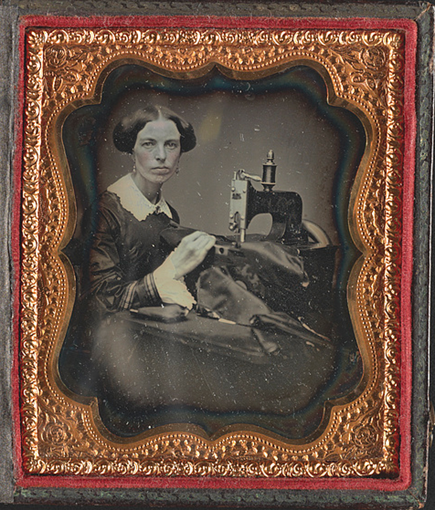 """Occupational Portrait of a Woman Working at a Sewing Machine,"" ca. 1853"