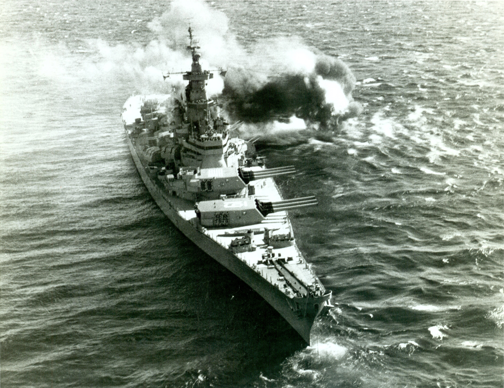 Aerial View of USS Iowa Near Koje, Korea, October 17, 1952