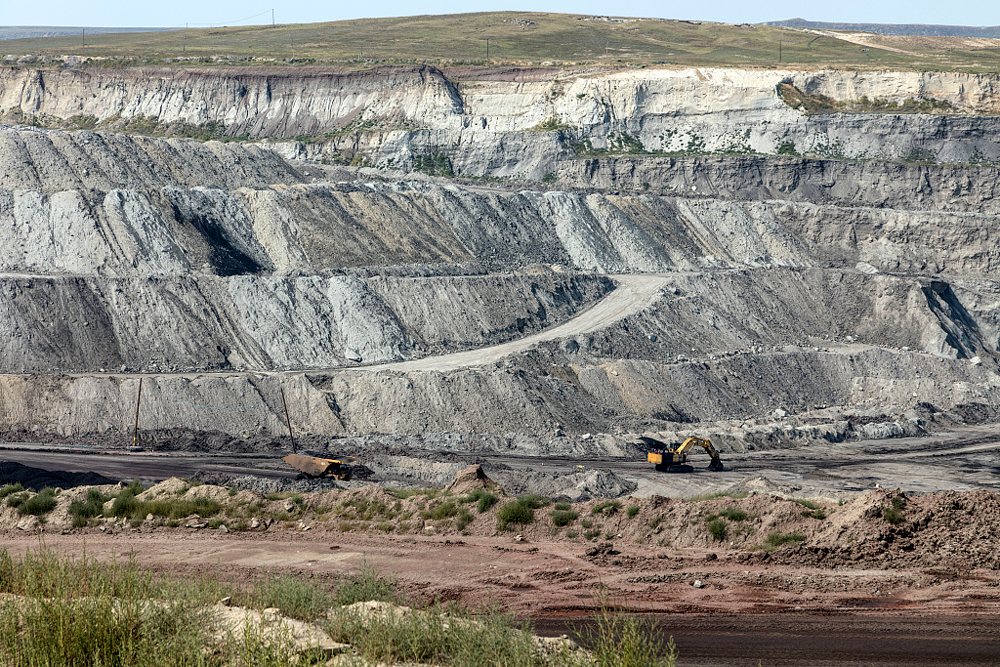 View into the Eagle Butte coal mine in Gillette, in Wyoming's Powder River Basin