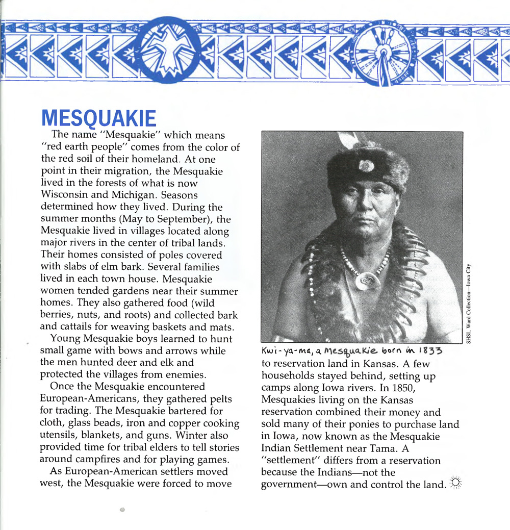 """Mesquakie"" Essay from The Goldfinch, February 1992"