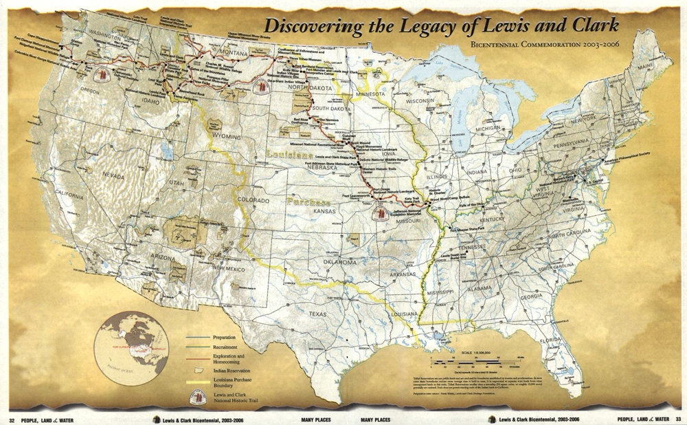 Map of Lewis and Clark's Expedition with Native American Tribes Labeled
