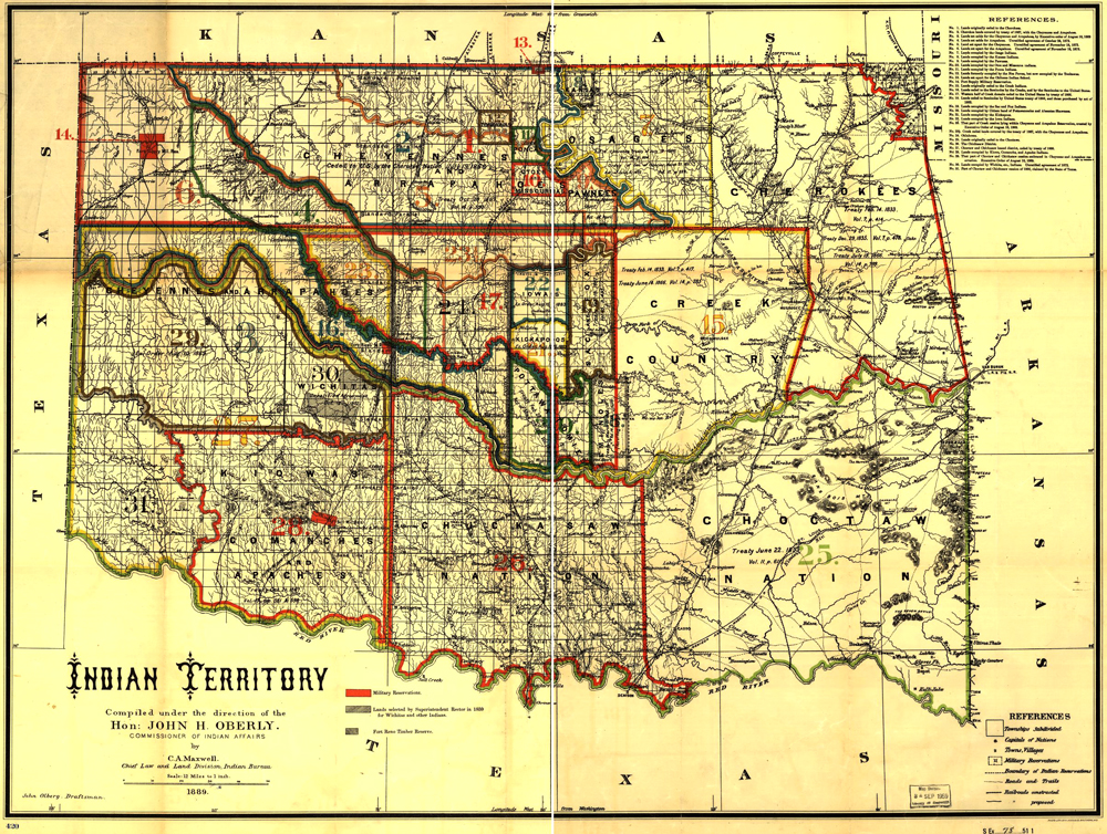American Indian Reservations In Oklahoma 1889 Idca - Us-indian-territory-map