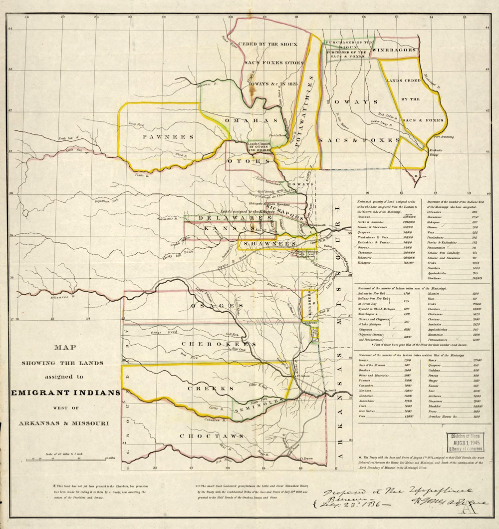 Lands Assigned to American Indians West of Arkansas and Missouri ...