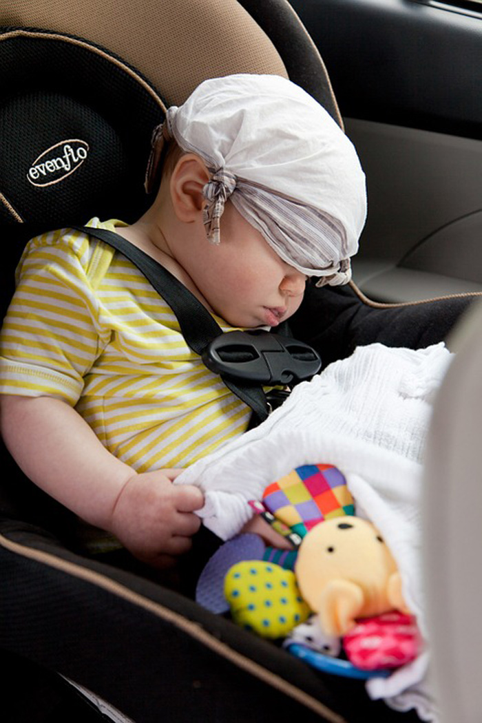 Infant Asleep in a Car Seat, Date Unknown