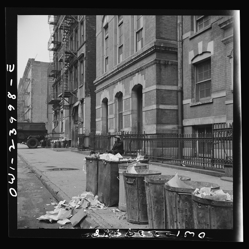 Open Trash Cans Along a New York City Street, April 1943