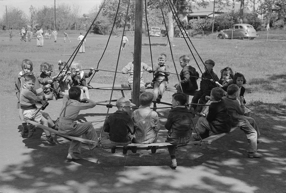 Students swinging on a playground in Texas in 1939.