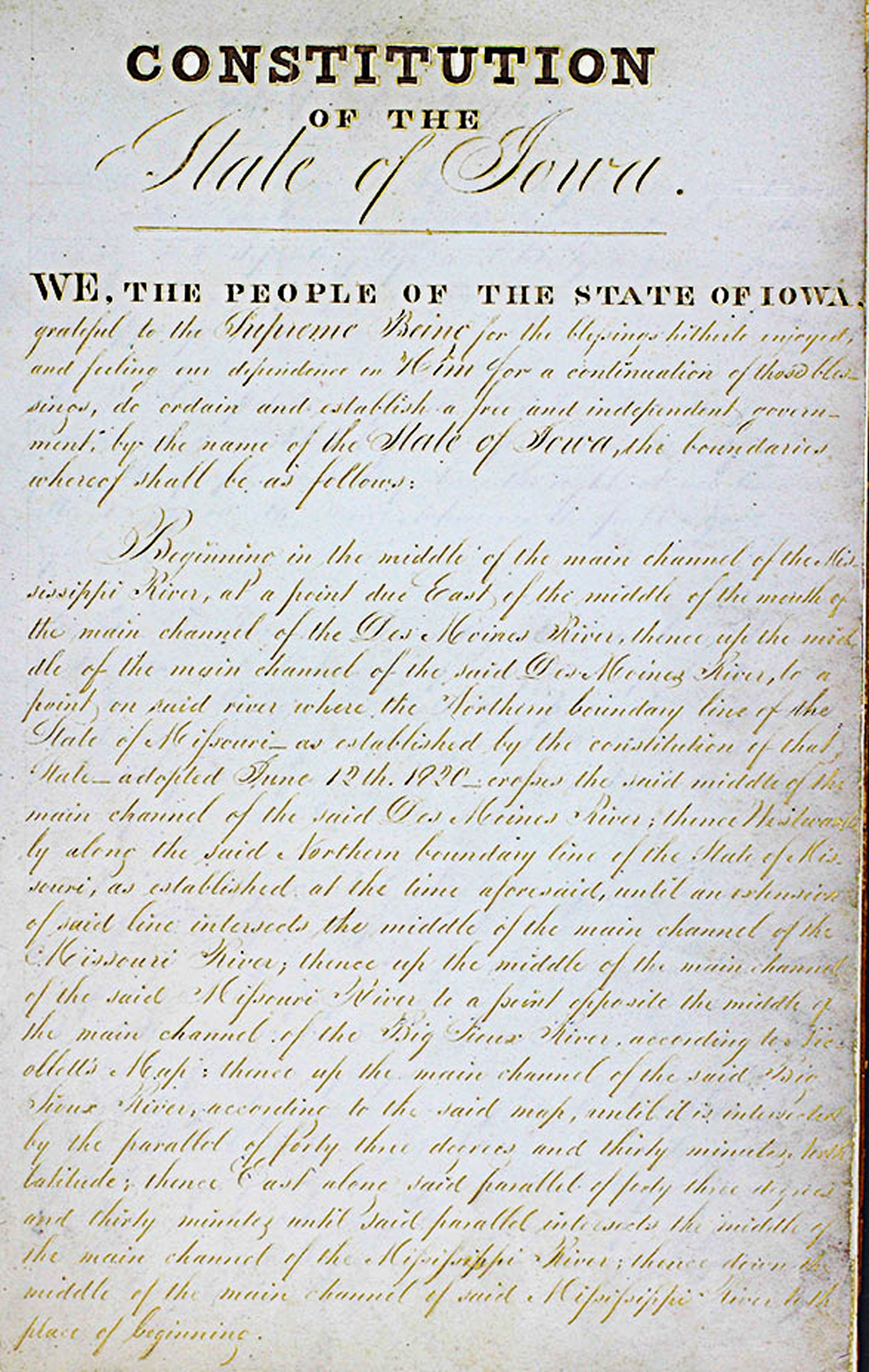 This document is the original official constitution of the State of Iowa from 1857,