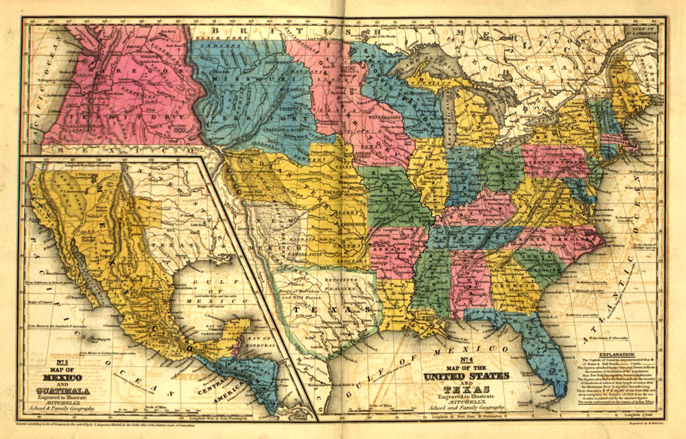 This map was created for a school atlas in 1939; it shows the territories and states created from the Louisiana Territory Purchase.