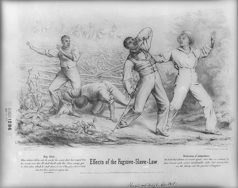 Illsutration showing white fugitive slave catchers attacking and beating runaway slaves in a corn field.