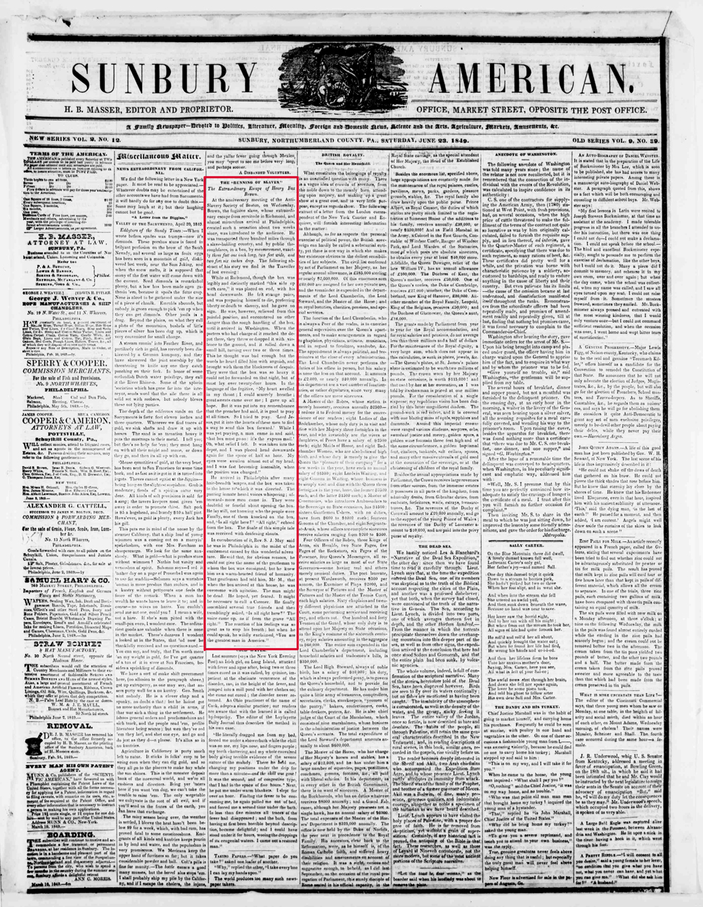 the article from Sunbury American newspaper from Northumberland County in Pennsylvania about Henry Box Brown