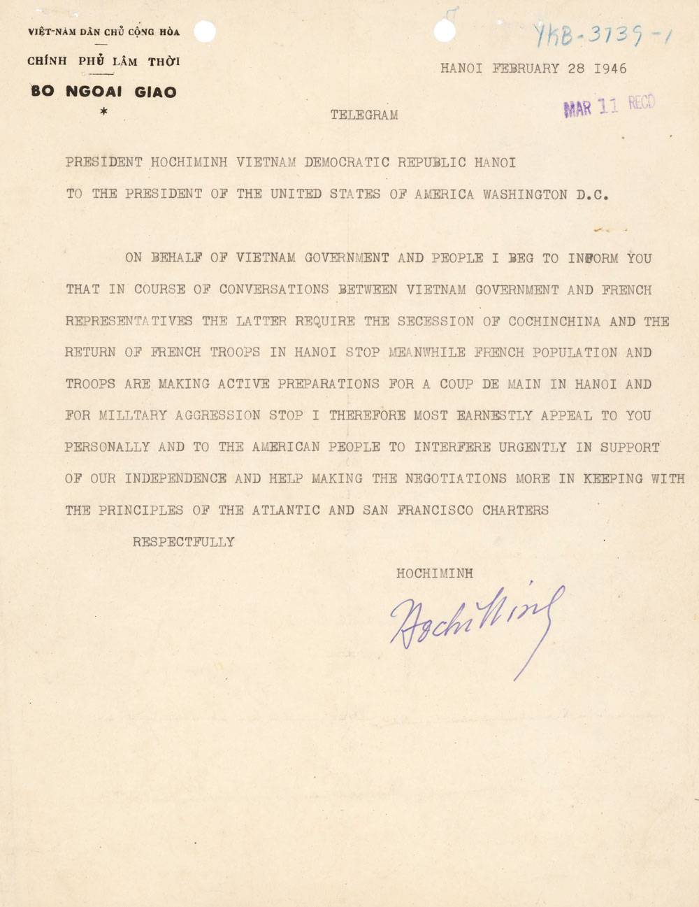 Letter from Ho Chi Minh to U.S. President Harry Truman, February 28, 1946