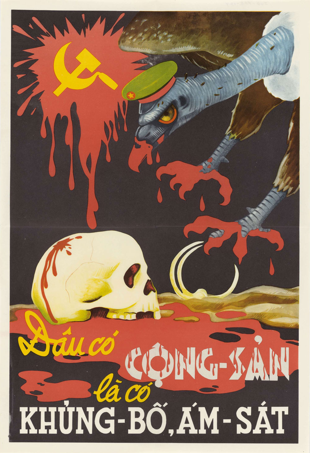 Poster depicting a buzzard with bloody talons grabbing a skull.