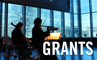Arts Grants text with cellist and flutist