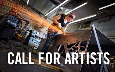 Call for Artists text with woman cutting metal and sparks flying.