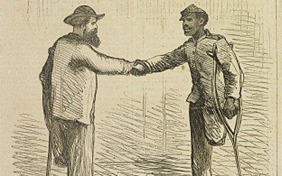 Appearing April 22, 1865, only two weeks after Robert E. Lee's surrender at Appomattox, this illustration shows two Union veterans, one white and one African-American, shaking hands. Both soldiers have had a leg amputated.