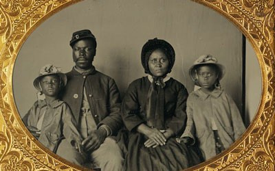 African-American soldier and his family during the Civil War.
