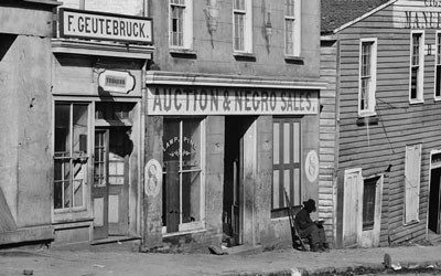 Slave auction in on Whitehall Street.