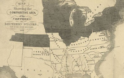 Map depicting the northern and southern states in 1861.