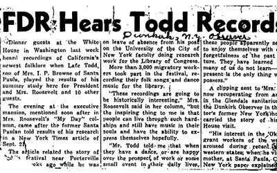 """FDR Hears Todd Records"" Newspaper Article"