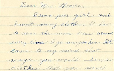 Letter to Mrs. Hoover from young girl.