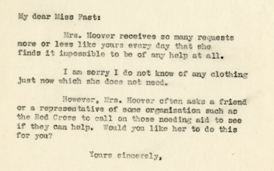 Response from First Lady Lou Henry Hoover's Secretary's Response to Martha Fast, January 7, 1931